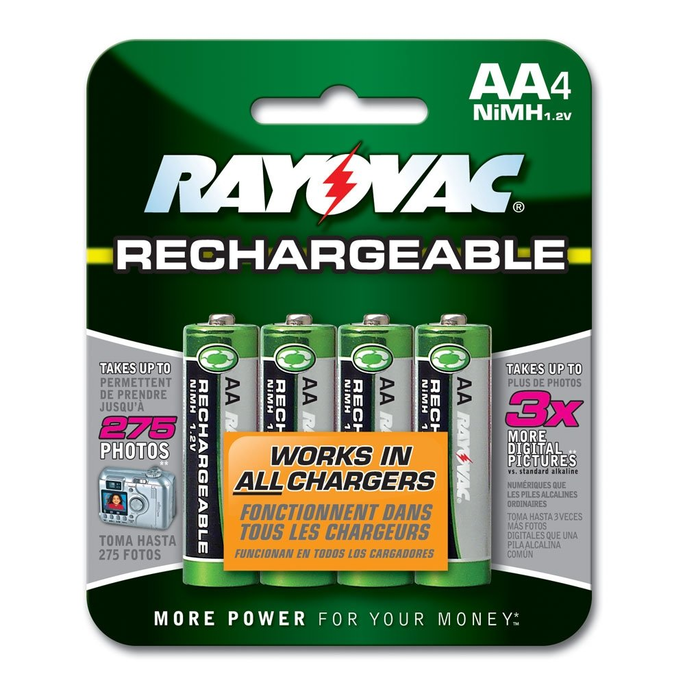 Amazon Rayovac Rechargeable NiMH Batteries AA Size 4 Count Carded Pack Health Personal Care