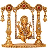 Art N Hub Bhagwan Ganesha Murti Mini Brass Dashboard Statue Figurine in Swing/Divine Elephant God Decorative Showpiece Idol for Success/Hindu Religious Lord Ganpati Vinayaka Resting Pooja Sculpture