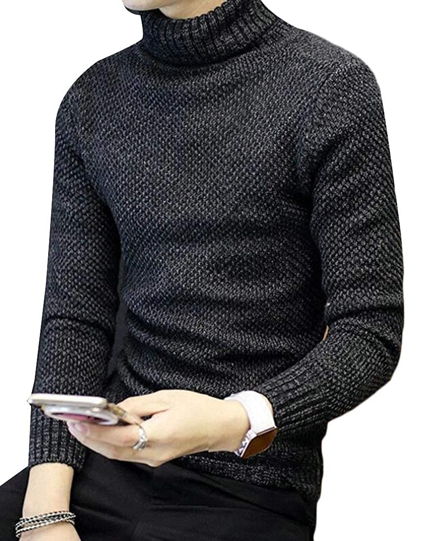 Generic Mens Casual Slim Fit Turtleneck Long Sleeve Solid Thermal Pullover Sweater
