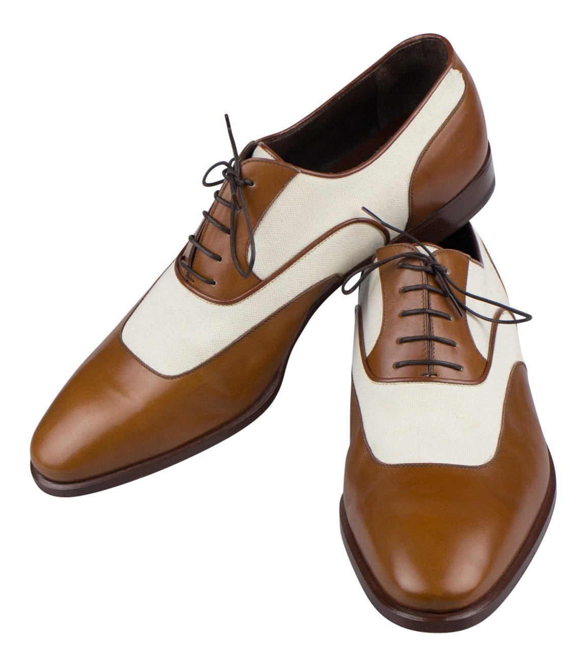 Brioni Brown Leather Canvas Oxfords Dress shoes Size 8.5 41.5