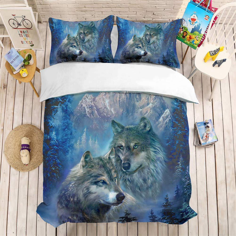 Animal Wolf Head Moon Snow Aurora Eye Bedding Set Three-Piece Bed Linens Duvet Cover Bed Sheet Pillowcase Twin Full Bed Queen King Size (#3,Full)