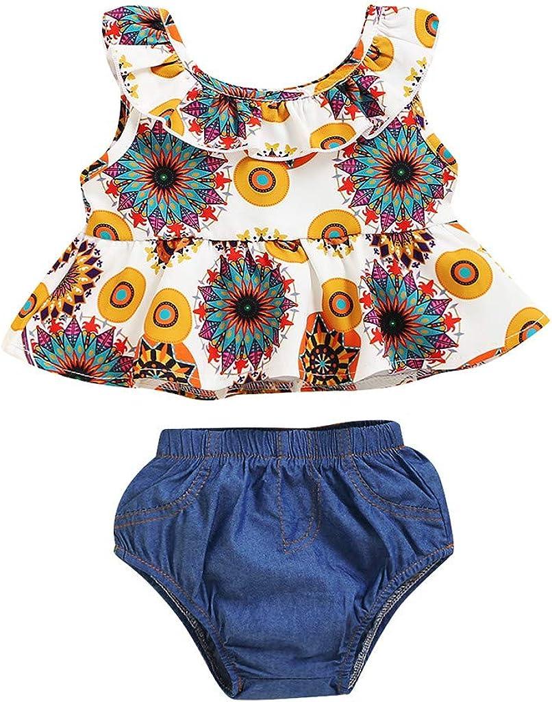BBSMLIN Ropa Bebe Niña Verano 2020 2PC/Conjunto de Tops Blusa con Volantes + Denim Pantalón Cortos - Ropita para Recién Nacido Bebé 3 a 6 9 12 18 Meses