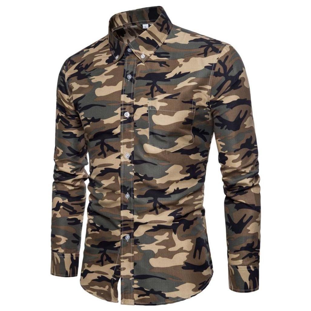 Ximandi Men's Shirts British Style Camouflage Long Sleeve Business Slim Fit Shirt