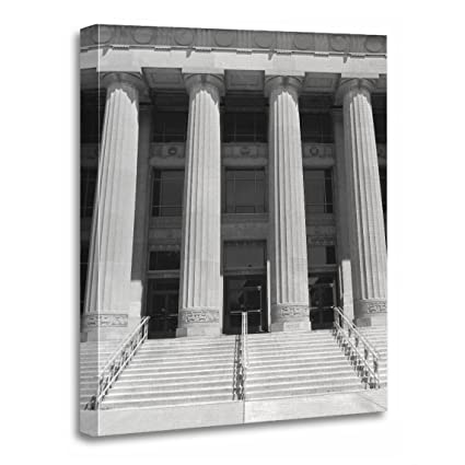 TORASS Canvas Wall Art Print Black Pillars of Angel White Photography Architecture Columns Artwork for Home