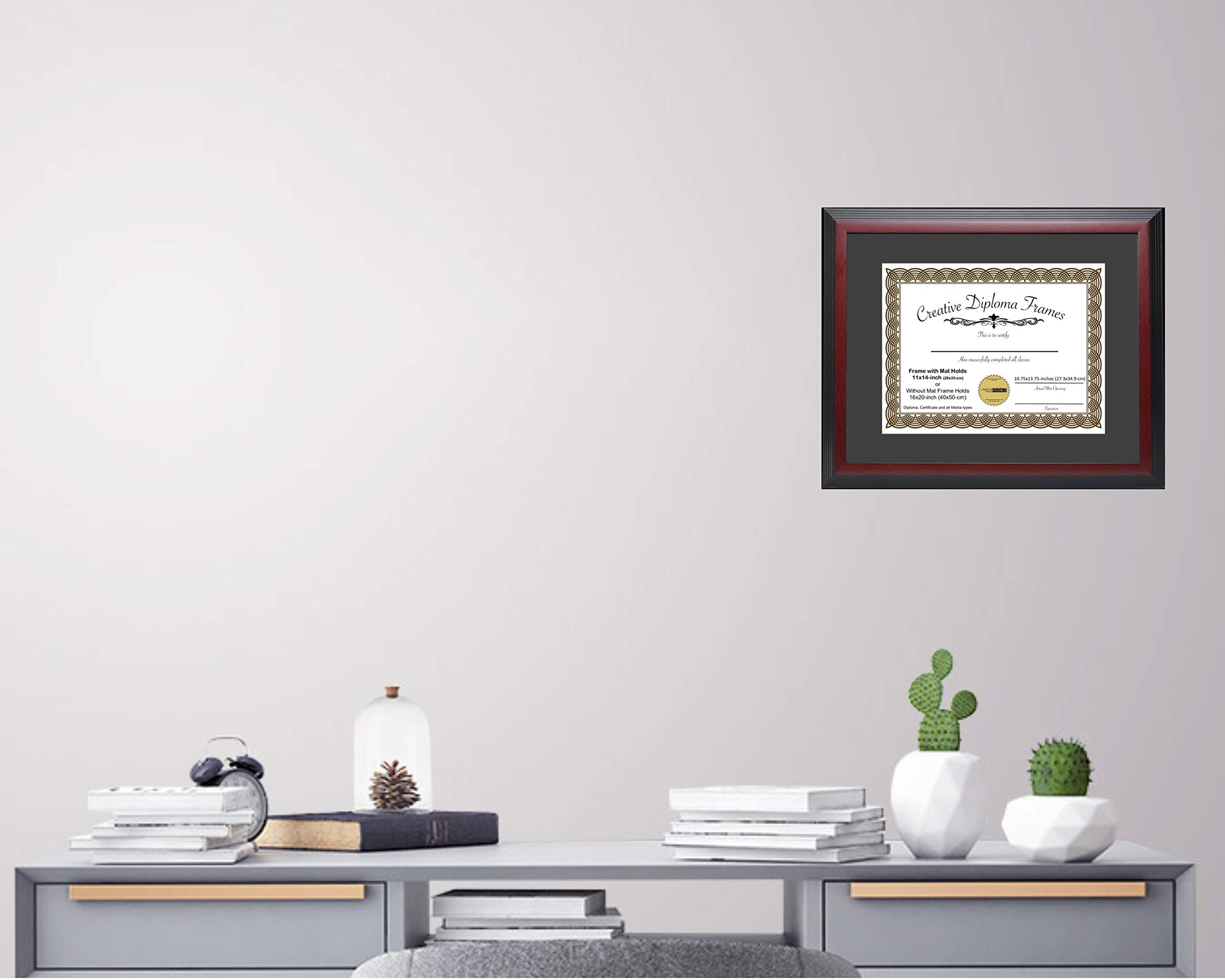 CreativePF [1114-1620mh] Large Mahogany Diploma Frame with Black Mat Holds 11x14-inch Documents with Glass and Installed Wall Hanger by Creative Picture Frames (Image #4)