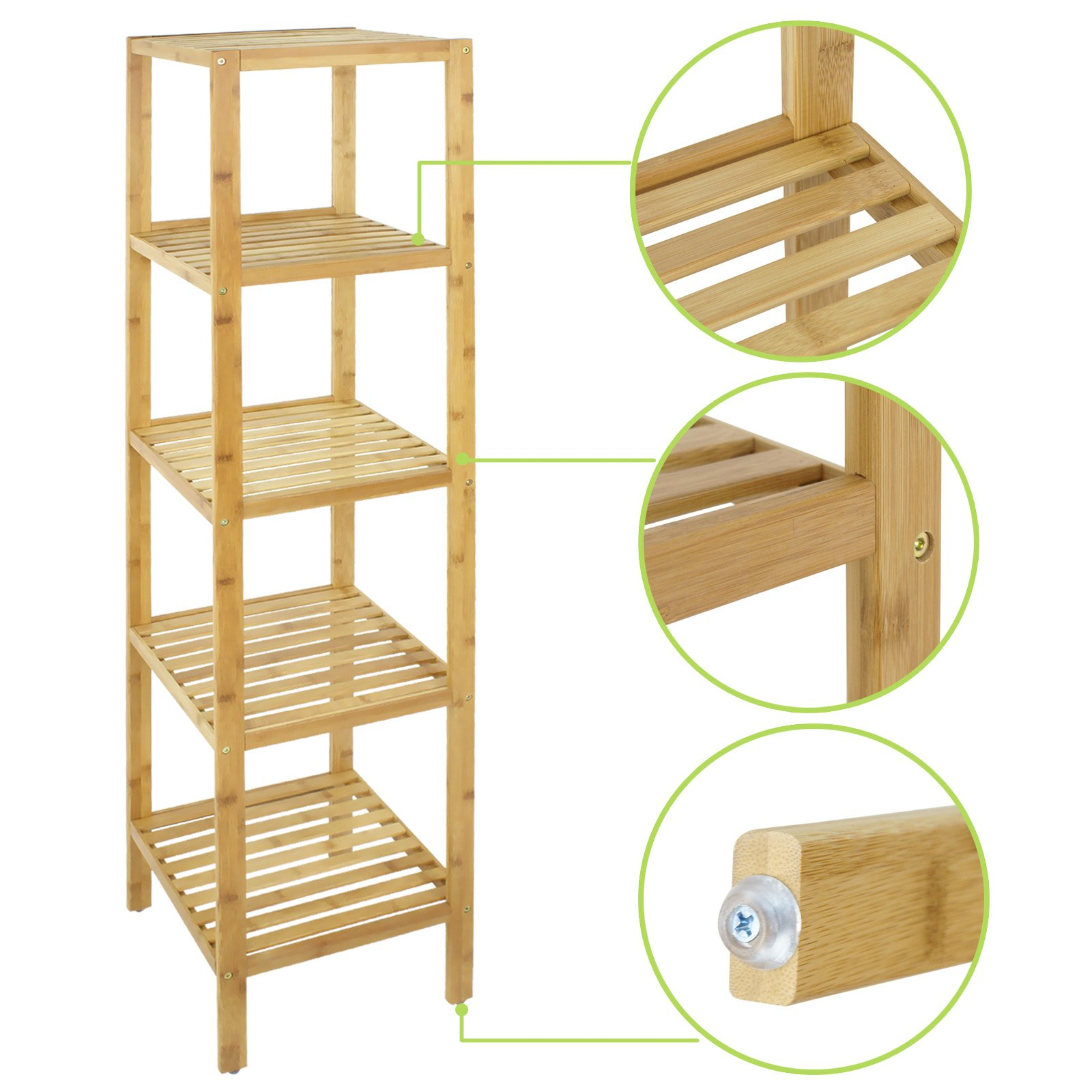 Smartxchoices 5 Tier 100% Bamboo Bathroom Organizer Standing Shelf Towel Rack Free Standing Shelves Units Wood Storage Rack Corner Bookshelf Plant Stand (57.5'' H)