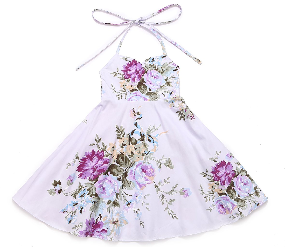 Flofallzique Vintage Floral Girls Dress Summer Birthday Party Dress Kids (5, Purple)