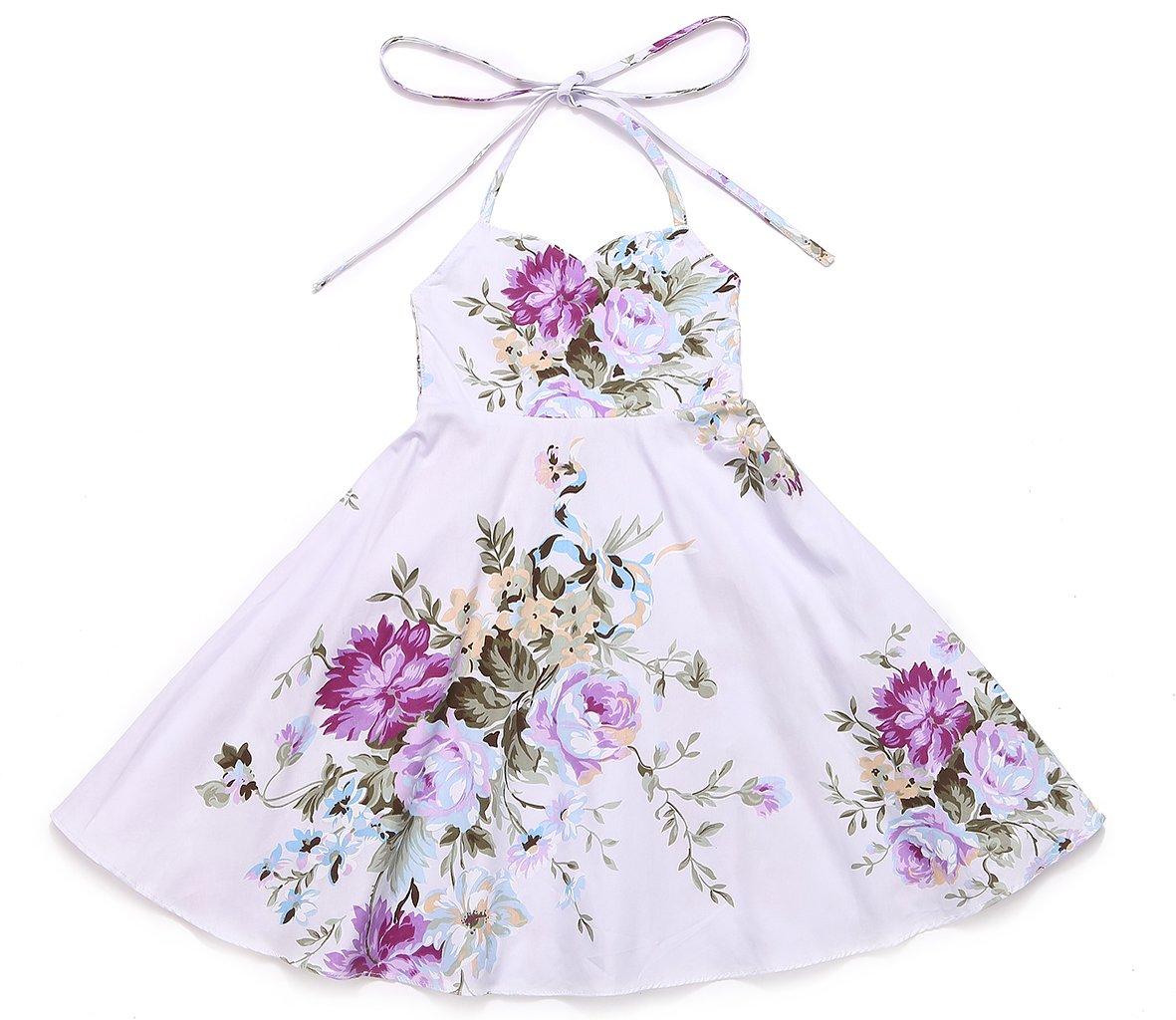 Flofallzique Floral Vintage Girls Dress Summer Holiday Party Toddler Girls Dress (6, Purple)