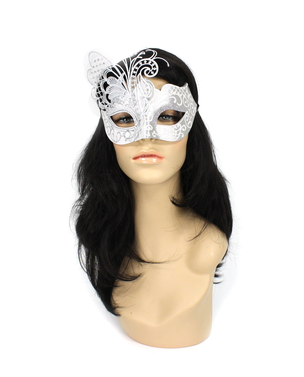 Largemouth Women's Laser Cut Butterfly Wing Mask (White/Silver)