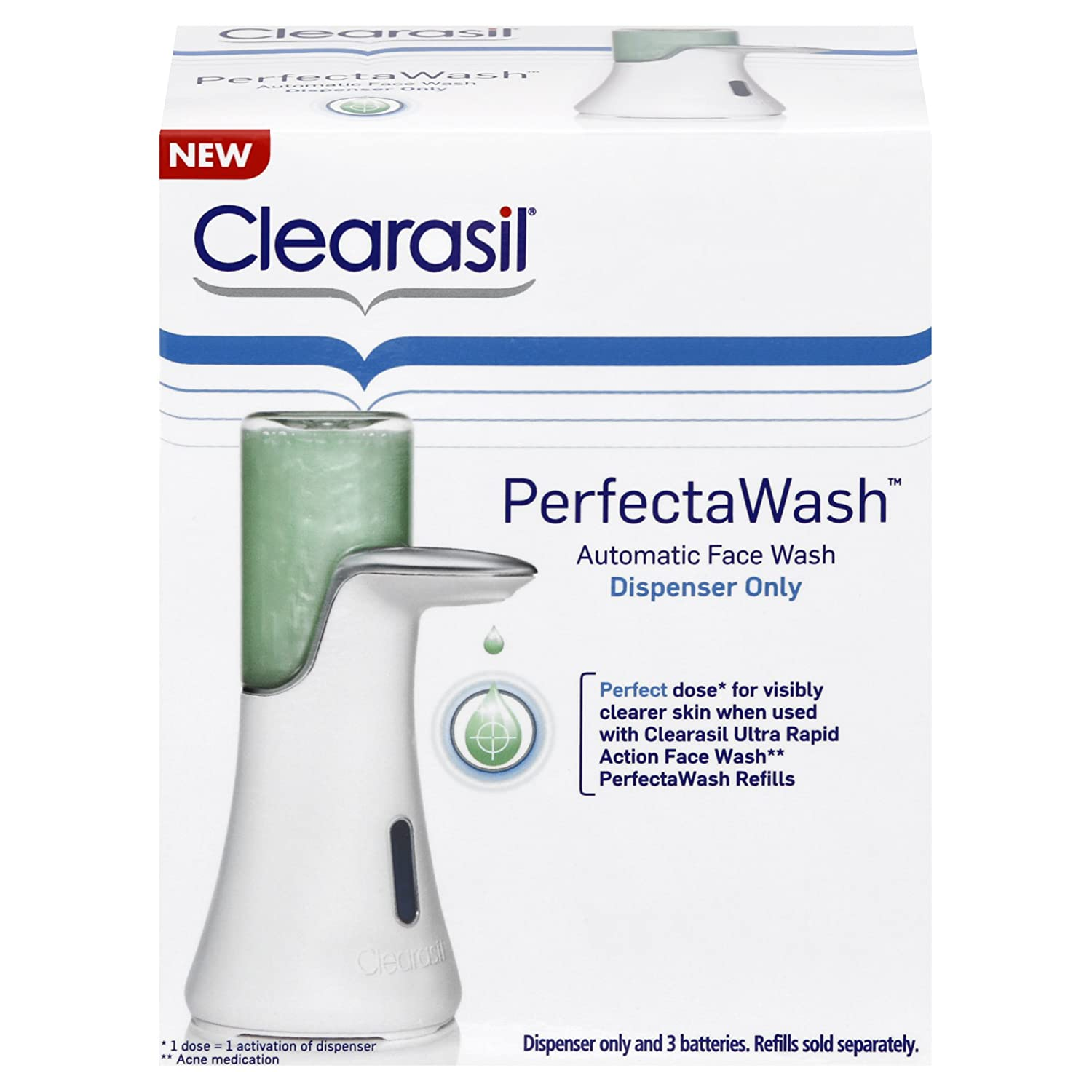 Clearasil Perfectawash Automatic Acne Treatment Face Wash Dispenser and Refills, 1 Count Gold Adult Unisex Skin Sui