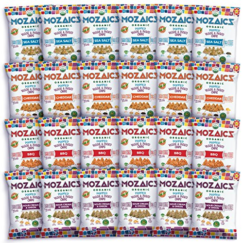 - Mozaics Organic Popped Veggie & Potato Chips- Healthy snack, ~100 calorie snack, better than veggie straws or stix - gluten free - 0.75oz single serve bags (Variety, 24-count)