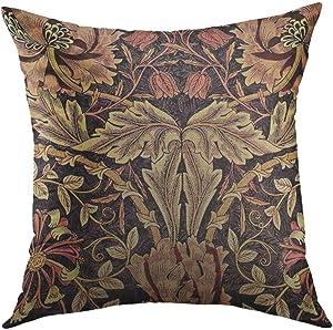 Mugod Decorative Throw Pillow Cover for Couch Sofa,Honeysuckle William Morris Vintage Design Home Decor Pillow Case 18x18 Inch