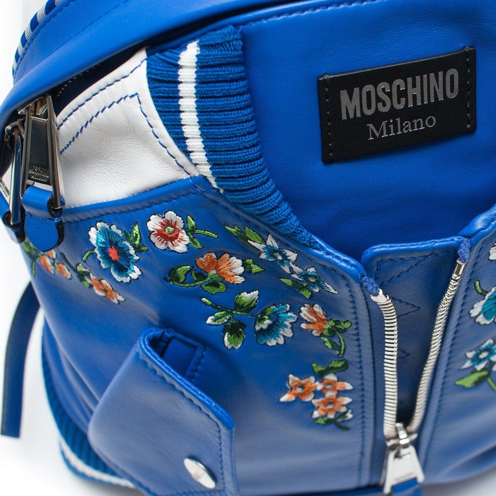 45120c365dd80 Amazon.com: Moschino Blue Embroidered Floral Bomber Jacket Leather Backpack  Scott New: Shoes