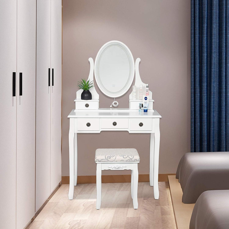 Laneetal Coiffeuse Femme Meuble pour Maquillage Miroir avec /éclairage LED Table de Coiffeuse avec Tabouret et 5 tiroirs baroques 80x40x127cm Blanc