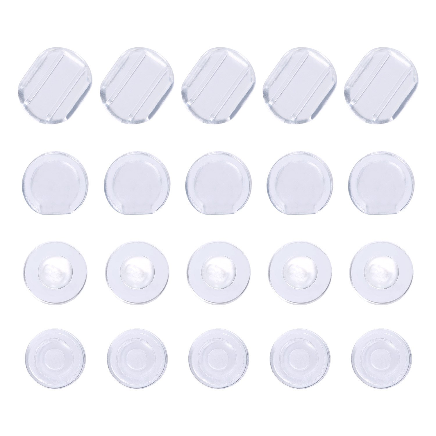 Maxdot 100 Pieces 4 Size Earring Pads Silicone Comfort Earring Cushions for Clips on Earrings, Clear 4336827543