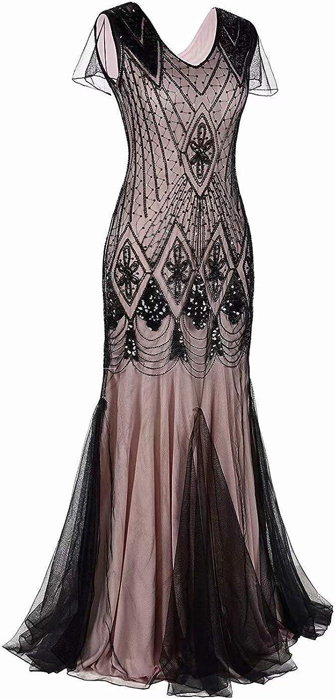 Sconosciuto Donna Vestito degli Anni 20 Abiti Gatsby Flapper Costume da Festa Lunga Sera GA80