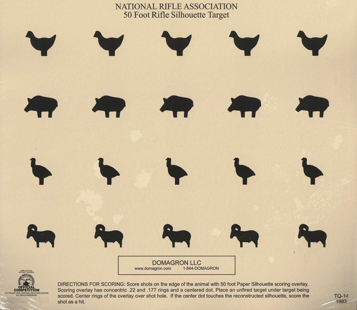 graphic about Printable Animal Targets identified as DOMAGRON 50 Foot Rifle Silhouette Animal Concentration Formal NRA Aim TQ-14