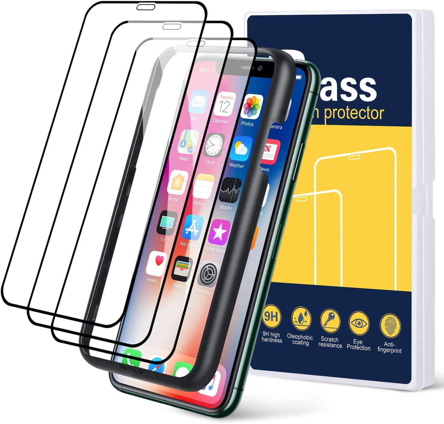 Pofesun Tempered Glass Edge to Edge Screen Protector Designed for iPhone 11/XR 6.1 Inch, 4-Pack Full Coverage Screen Protector Compatible for iPhone 11 (2019)/XR (2018) [Guidance Frame Include]-Black