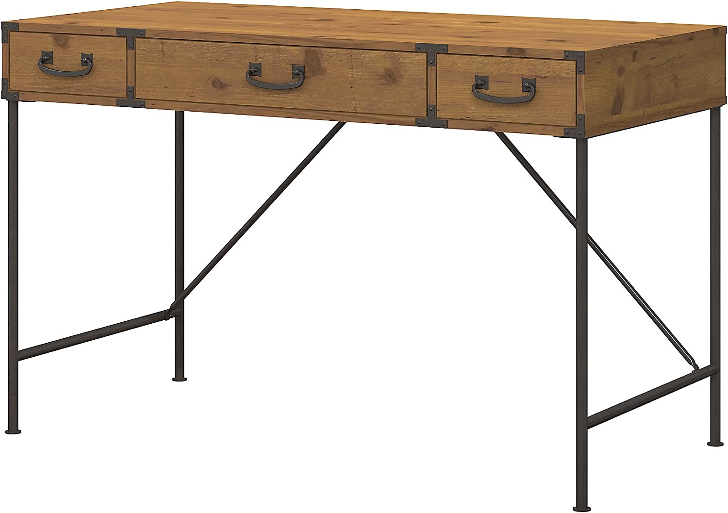 kathy ireland Home by Bush Furniture Ironworks 48W Writing Desk and Lateral File Cabinet in Coastal Cherry