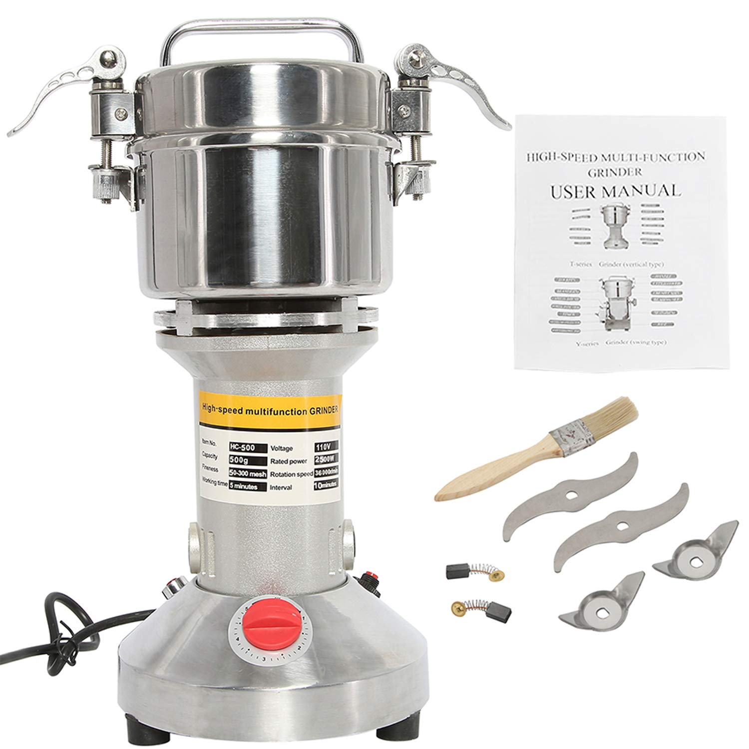 HYDDNice 500g Grain Mill Grinder 2500W 50-300 Mesh 36000RPM High Speed Electric Stainless Steel Grinder Spice Herb Cereals Corn Flour Powder Machine Commercial Grade by HYDDNice