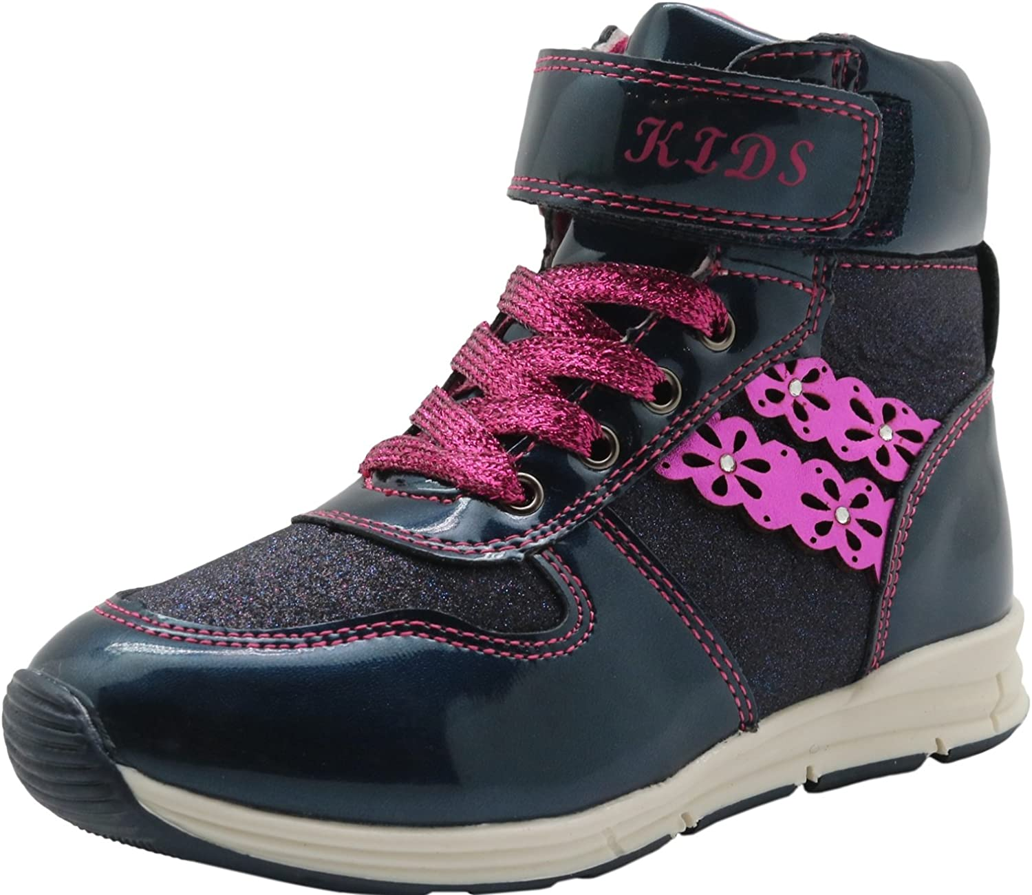 Apakowa Little Kids Shoes Girls Ankle Combat Boots Lace Up /& Side Zipper Closure Shiny Decorated Sneaker