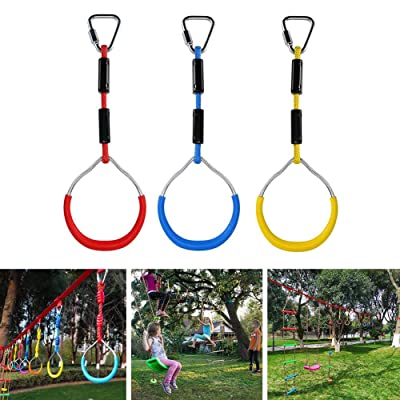 benefit-X Swing Bar Rings 3PCS Adjustable Colorful Swing Gymnastic Rings for Kids Boys Girls Weatherproof Outdoor Gymnastic Ring Ninja Obstacle Course Kit: Home & Kitchen