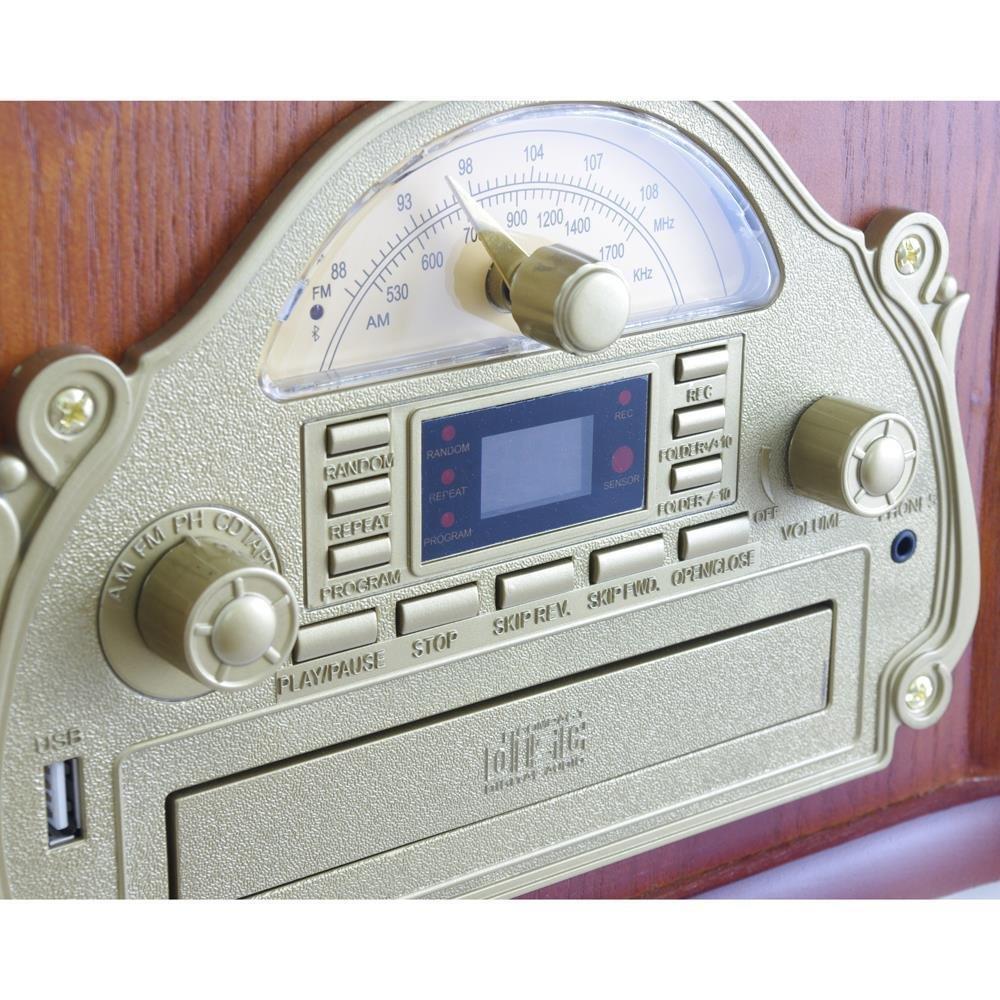 Pyle PTCD54UB - Tocadiscos con Bluetooth, diseño Retro con ...