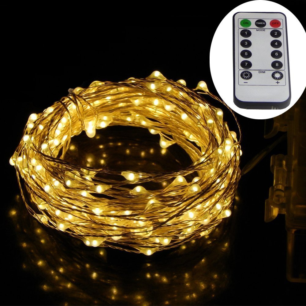 Dreamworth 40 Ft 240 LEDs Silver Wire Lights,Remote Battery Operated LED String Lights 8 lighting Mode Waterproof with 13 Key Remote Control For Christmas Holiday GL-14913 Wedding Parties Warm White