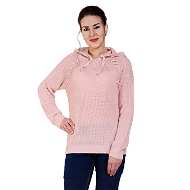 MansiCollections Pink Lattice Cut lace up Hoodie Sweater for Women  Amazon. in  Clothing   Accessories dc80634e4