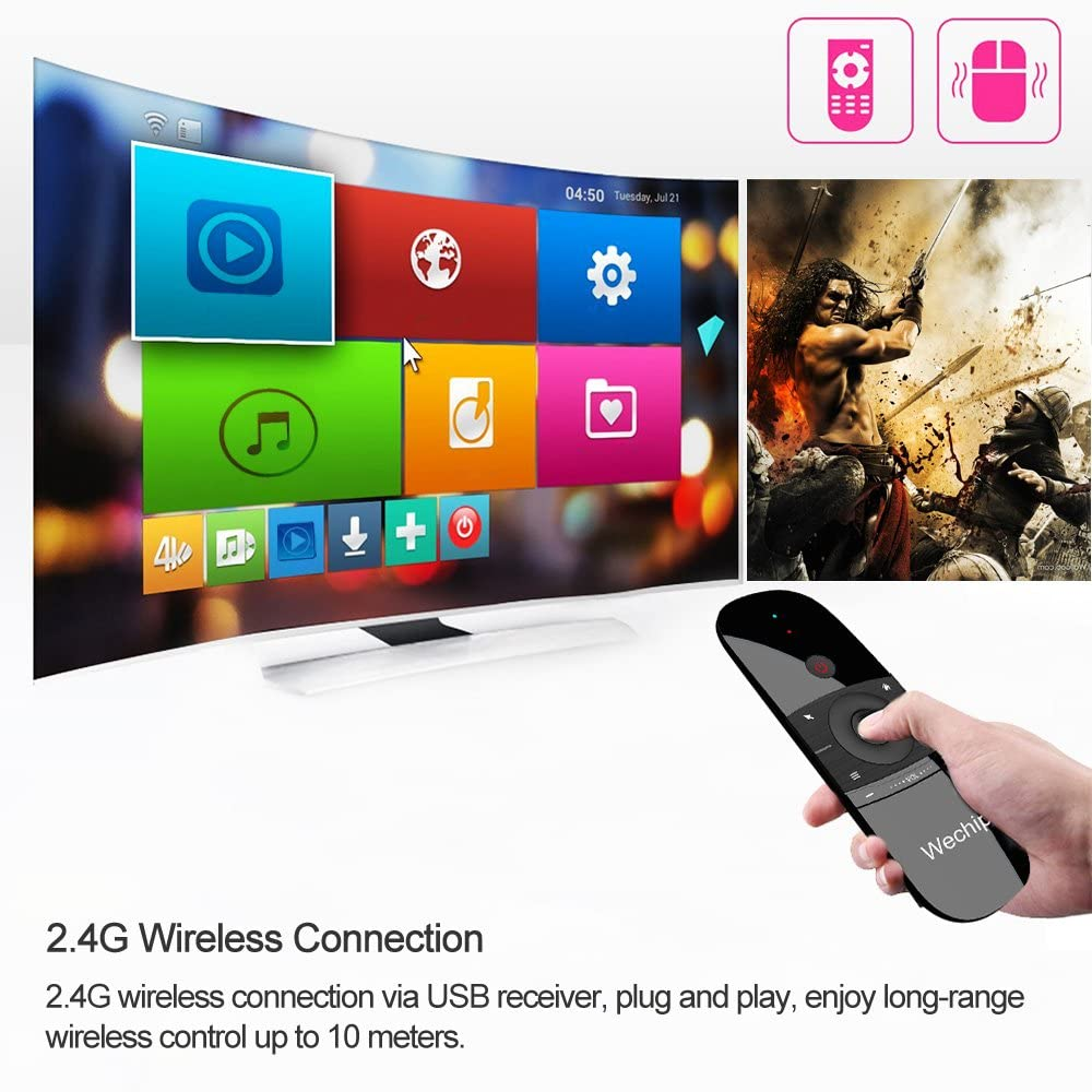 Festnight W1 2.4G Air Mouse Wireless Keyboard Remote Control Infrared Remote Learning 6-Axis Motion Sense w//USB Receiver for Smart TV Android TV Box Laptop PC