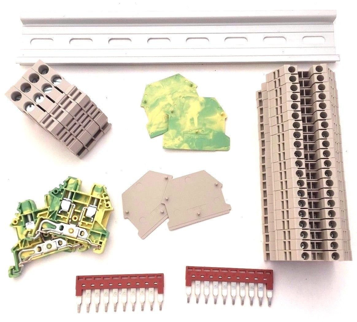 UL Listed DIN Rail Terminal Block Kit #1 Dinkle 20 DK2 5N 12 AWG Gauge 20A  600V Ground DK4N-PE Jumper DSS2 5N-10P End Covers End Brackets