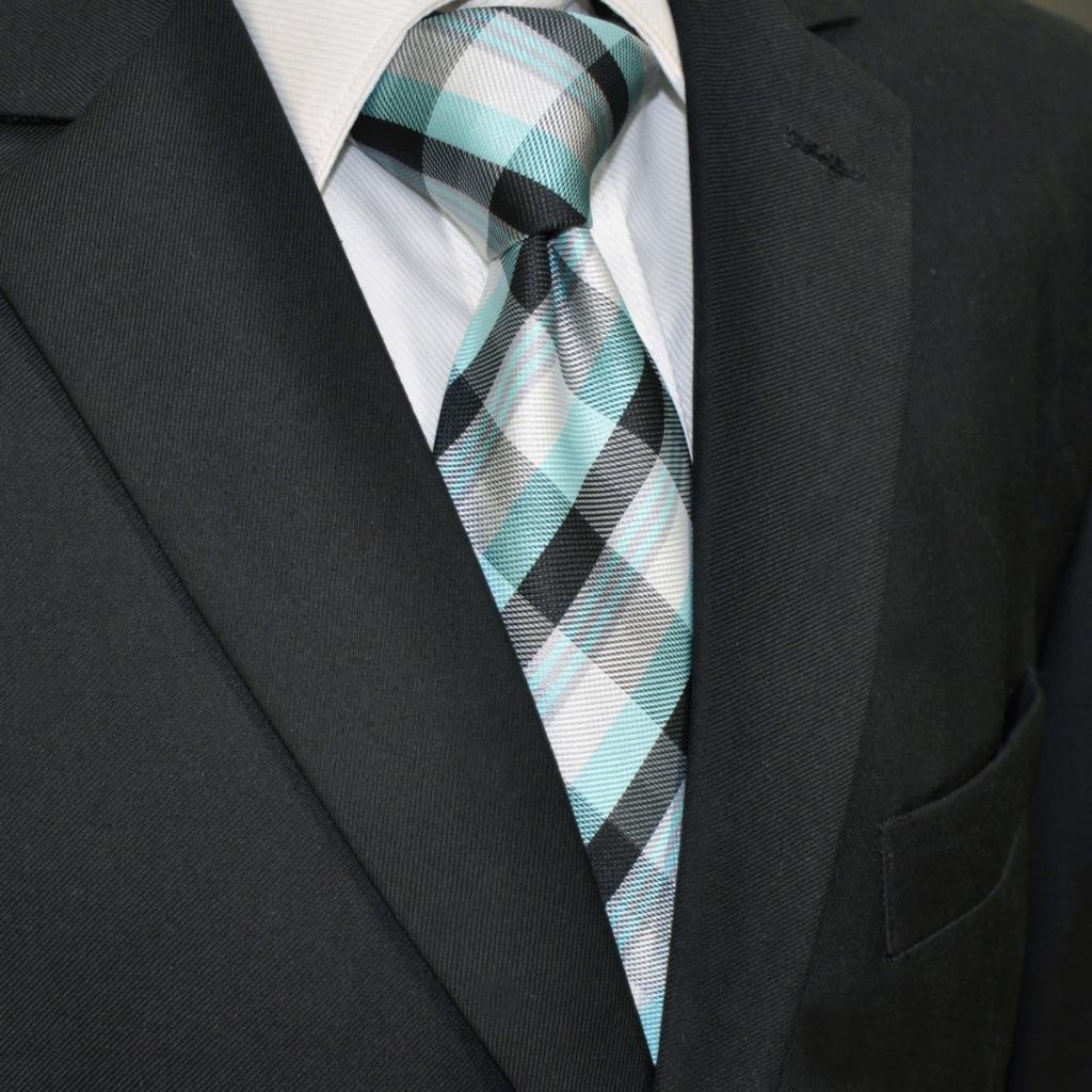 Shlax&Wing Traje De Negocios Hombre Seda Corbatas Para Azul Negro ...