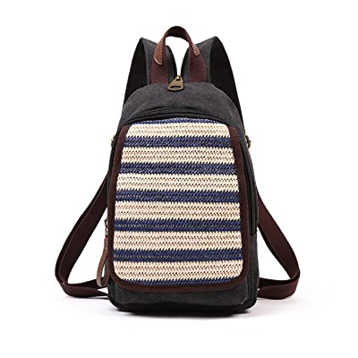 Vintage Small Canvas Rucksack Backpack Ipad Bag Mini Weekender Daypack Bag Small Travel Chest Pack
