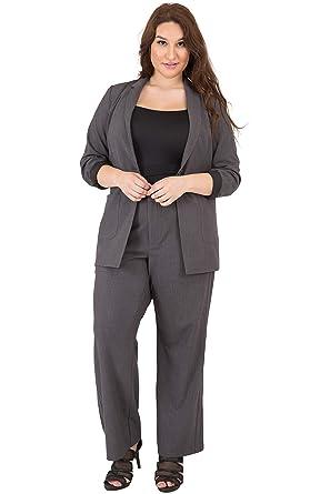 0bfdf73bdd2 Standards   Practices Plus Size Women A-Line Grey High Waist Wide Leg Suit  Pants