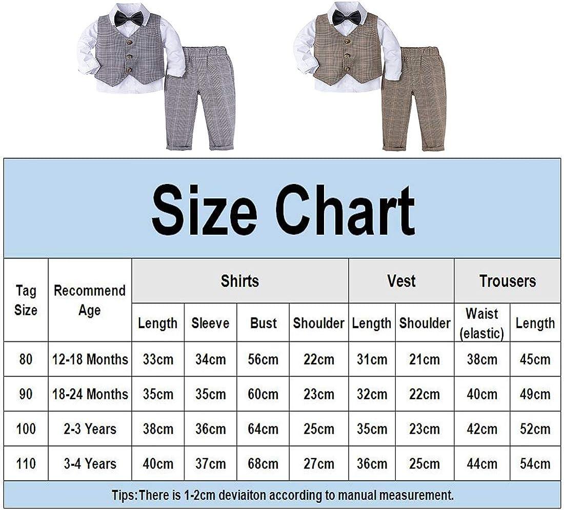 mintgreen Baby Boys Gentleman Suit Set Long Sleeve Shirt with Bowtie Size: 1-4 Years Waistcoat Pants