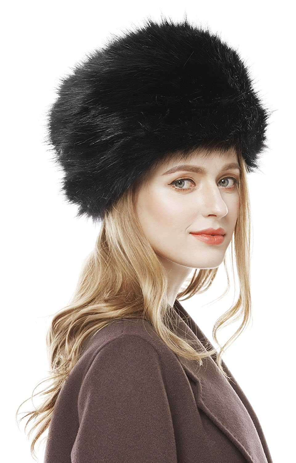 d9a786af9285 Lovful Winter Women Faux Fur Russian Cossack Style Hat Winter Wrap Hat,  Black, One Size at Amazon Women's Clothing store: