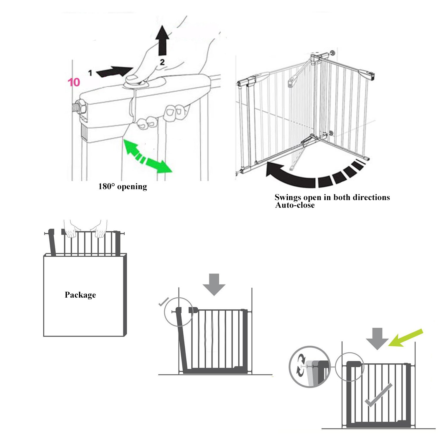 Fairy Baby Easy Step Walk Thru Pet and Baby Gate Expandable 29.5'' High,Fit Spaces 40.55''-43.31'' by Fairy Baby (Image #8)