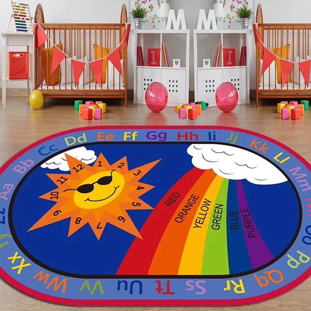 for Boy Girl Babies Playroom Nursery Classroom Bedroom Living Room 33x52 Educational ABCs Numbers Anti-Slip Child Large Carpet WERUGS Vibrant Oval Kids Area Rugs