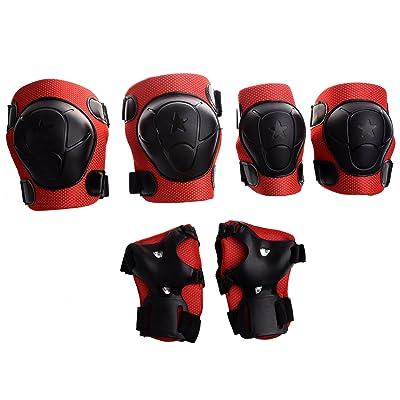 SODIAL(R) Protecteur de patinage de genou/poignet/coude pour l'enfant Rouge et noir
