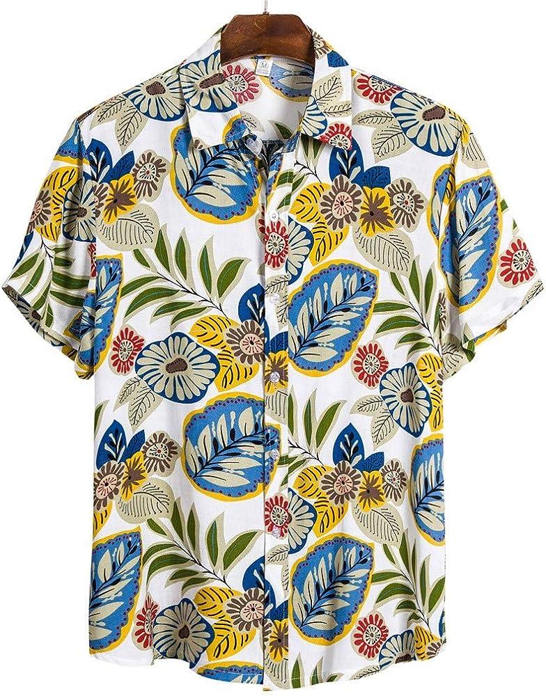 ALISIAM Camisa Hawaiana con Estampado de Lino y algodón de Manga Corta étnica para Hombre Moda Suelta Blusa con Cuello Vuelto de Playa Simple Summer Street Tops Camiseta: Amazon.es: Ropa y accesorios