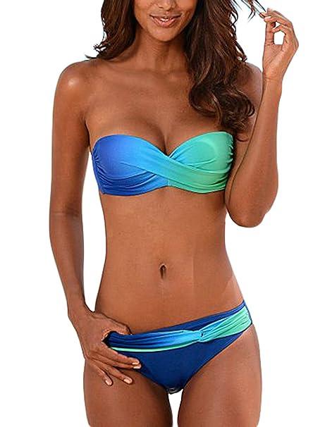 994daa3a1252 Aleumdr Mujer Bikini Conjuntos Ropa de baño Halter Cuello Traje de baño  Cuello V Azul-Púrpura Size S-XXL