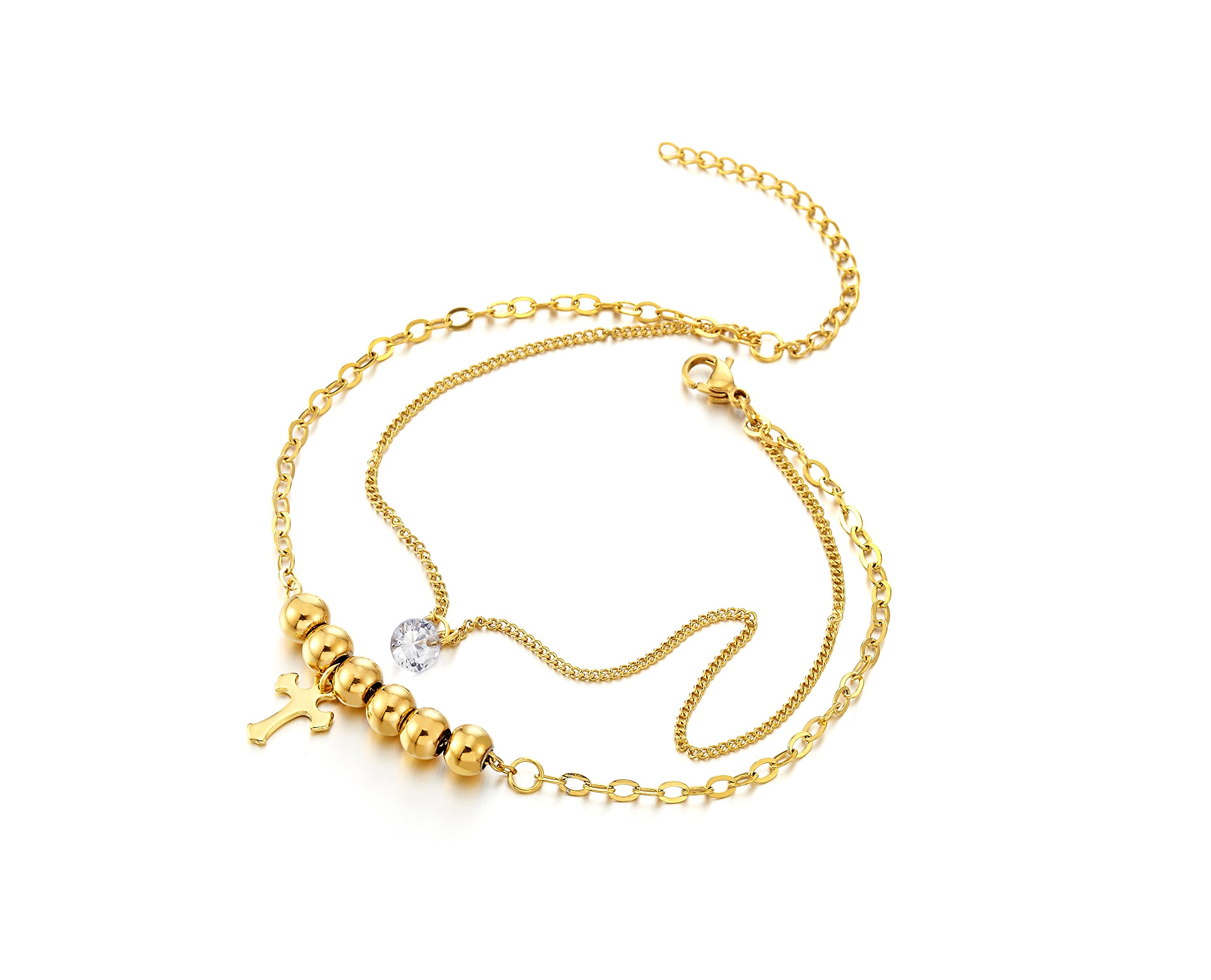 Stainless Steel Gold Color Double Chain Anklet Bracelet with Beads and Dangling Charms of Cross by COOLSTEELANDBEYOND (Image #3)