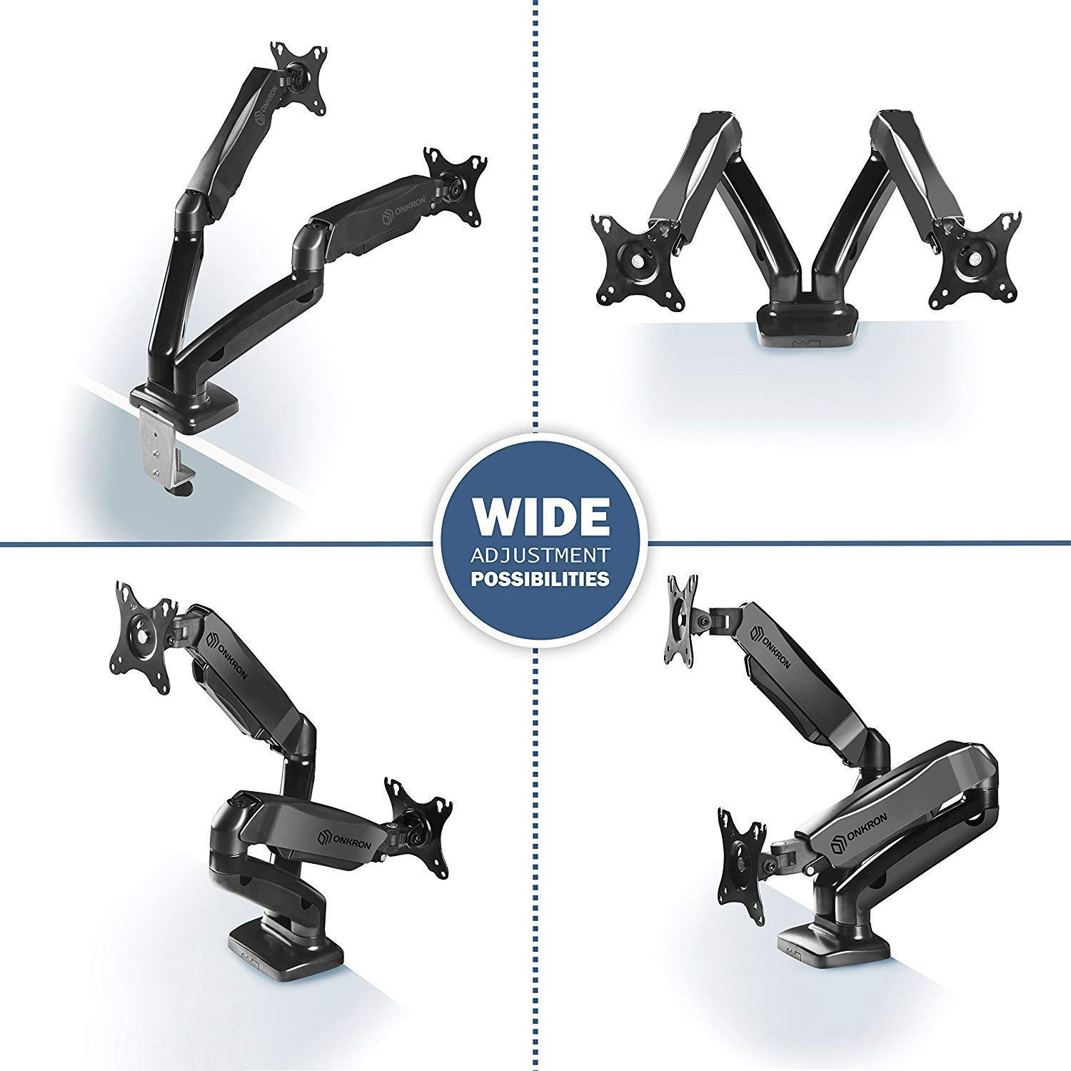 ONKRON Dual Monitor Desk Mount for 13 to 27-Inch LCD LED Computer TV Screens up to 14.3 lbs G160 by ONKRON (Image #2)