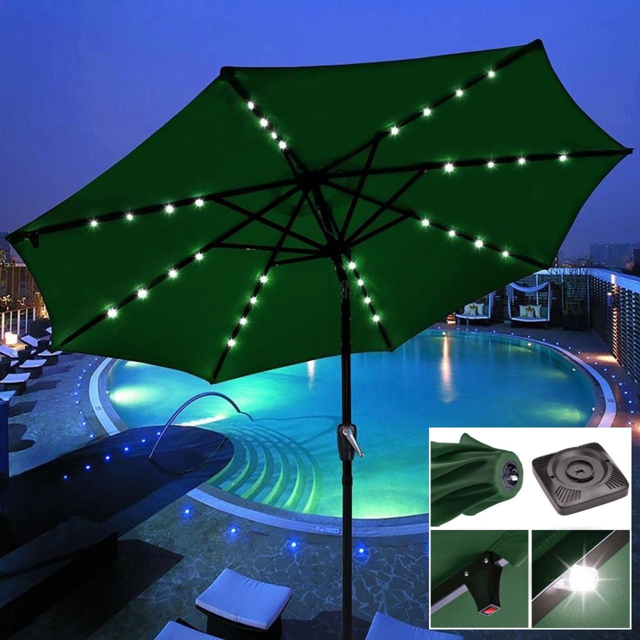 9' Outdoor Patio Solar Power LED Aluminium Umbrella Sunshade UV Blocking Tilt & Crank Green #904