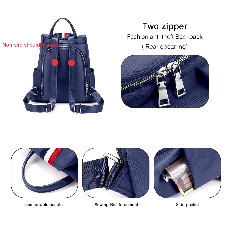 Rucksack Damen Blau, LOVEVOOK wasserdichte Nylon Daypack Schultaschen Reiserucksack, Anti-Diebstahl Backpack Tagesrucksack Schultertasche Leicht Marineblau