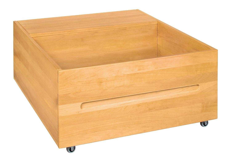 BioKinder Bettschublade Rollbox Aufbewahrungsbox Bettkasten Lina aus Massivholz Erle 78 x 39 x 55 cm