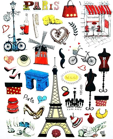 Amazon Com Pp Sticker 1 Sheet Eiffel Tower Paris France French Landmark Cartoon Label Foam Stickers Reward Stickers For Kids Stickers Diy Design Scrapbooking Card Diary Album Gifts