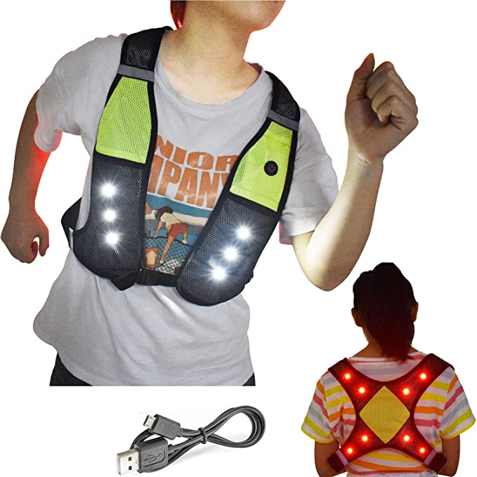 GreatShield GLO Running Vest with LED Lights Weatherproof Gear for Night Cycling Walking Bicycle Jogging Hiking Lightweight Reflective Safety Vest with Phone Holder Pocket
