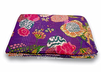 Home & Garden Bedding Imported From Abroad Indian Handmade Bird Print Double Kantha Quilt Bedspread Throw Ralli Blanket Art Be Novel In Design
