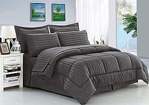 Elegant Comfort Wrinkle Resistant - Silky Soft Dobby Stripe Bed-in-a-Bag 8-Piece Comforter Set -Hypoallergenic - Full/Queen, Gray